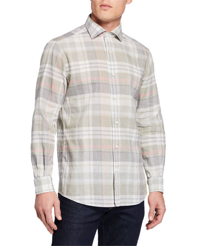 Men's Long-Sleeve Plaid Sport Shirt