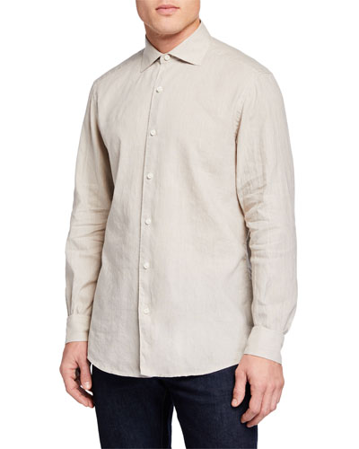 Men's Long-Sleeve Linen/Cotton Sport Shirt