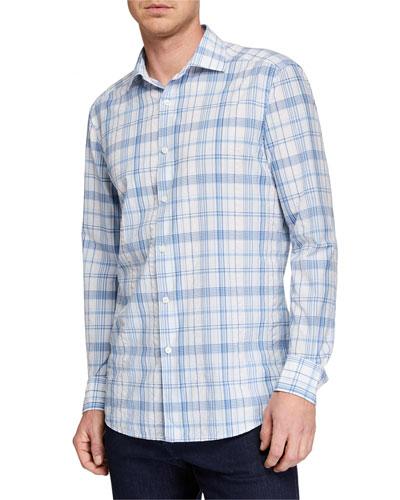 Men's Plaid Button-Down Cotton Trim-Fit Shirt