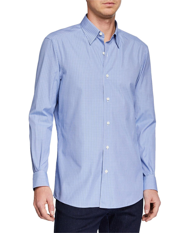 Ermenegildo Zegna T-shirts MEN'S MICROCHECK SPORT SHIRT