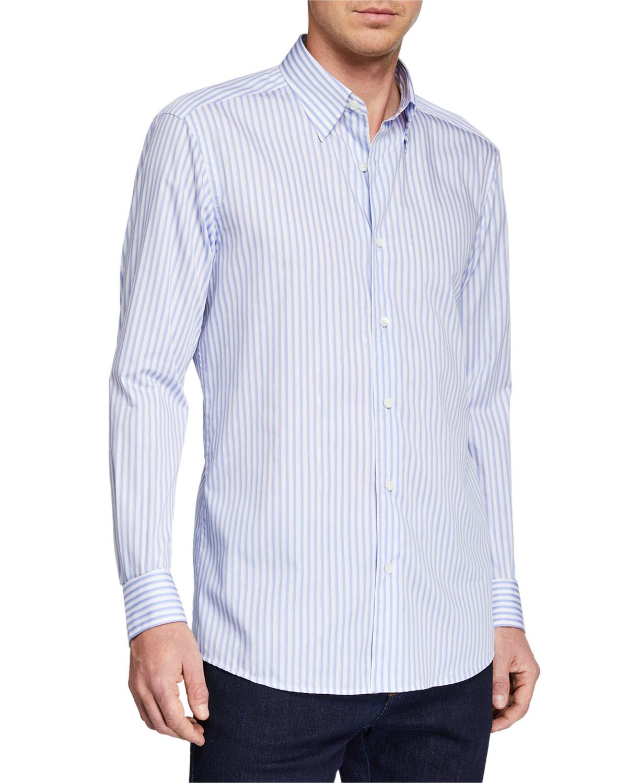 Ermenegildo Zegna T-shirts MEN'S STRIPED SPORT SHIRT