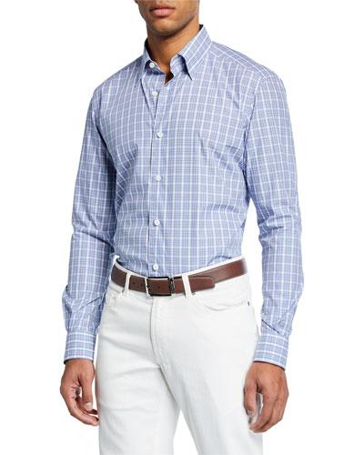 Men's Plaid Long-Sleeve Regular-Fit Shirt