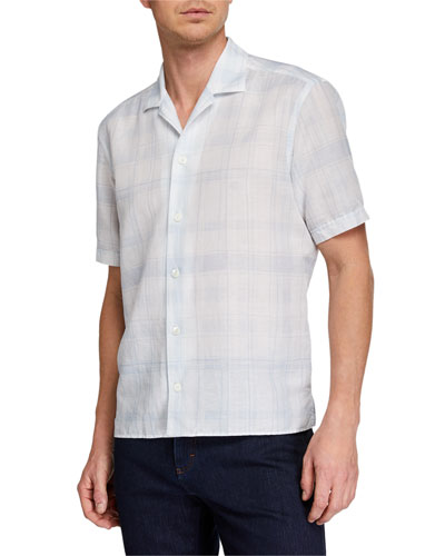 Men's Striped Linen-Blend Short-Sleeve Sport Shirt