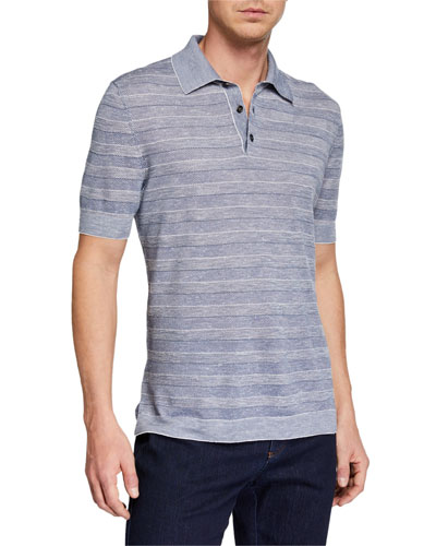 Men's Striped Polo Shirt, Medium Blue