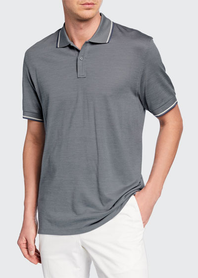 Men's Tipped Cotton/Silk Polo Shirt