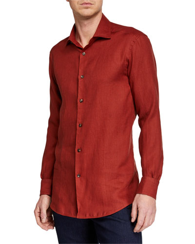 Men's Solid Linen Sport Shirt, Red