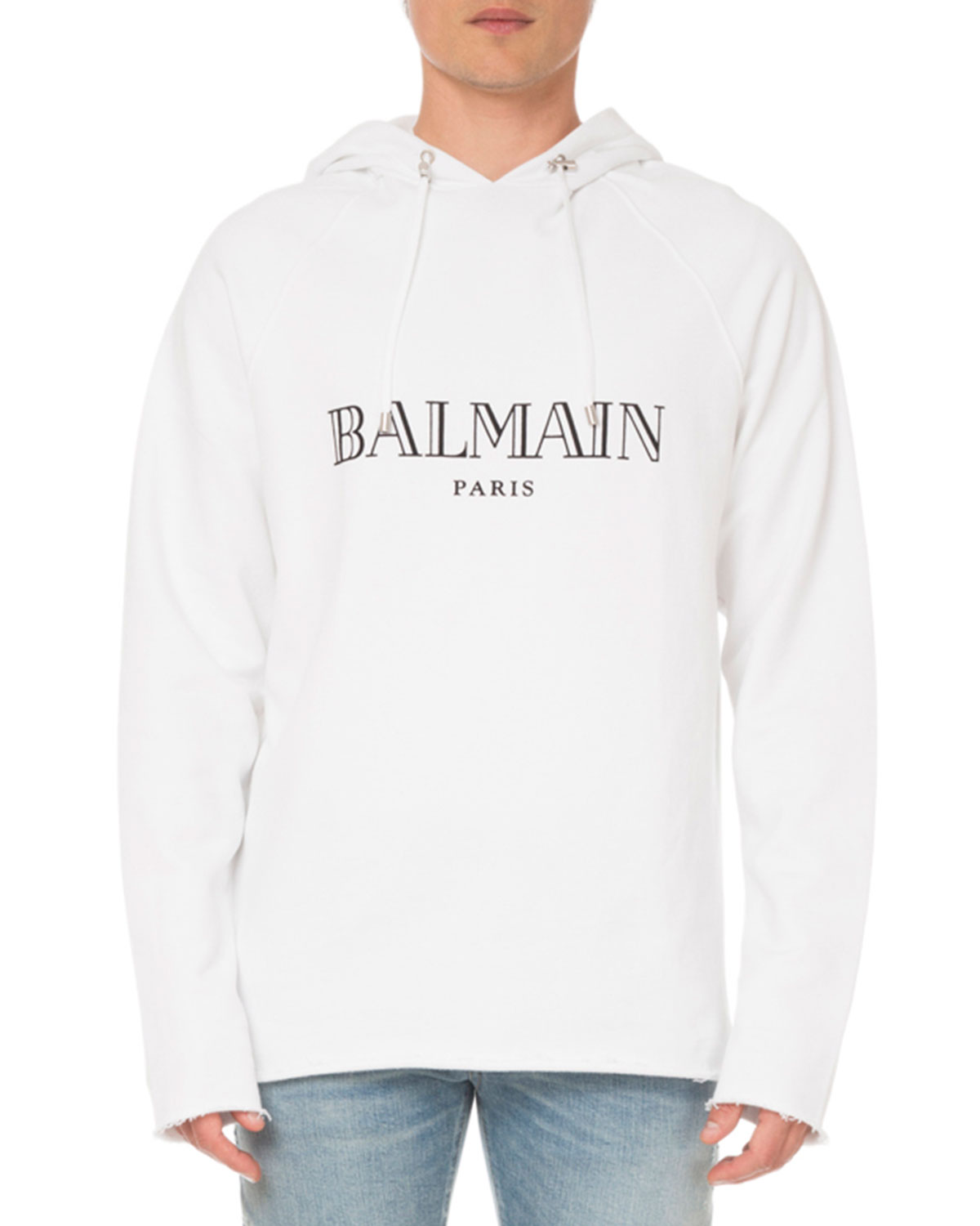 Balmain Tops MEN'S LOGO GRAPHIC PULLOVER HOODIE