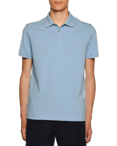 Men's Polo Shirt with Striped Undercollar