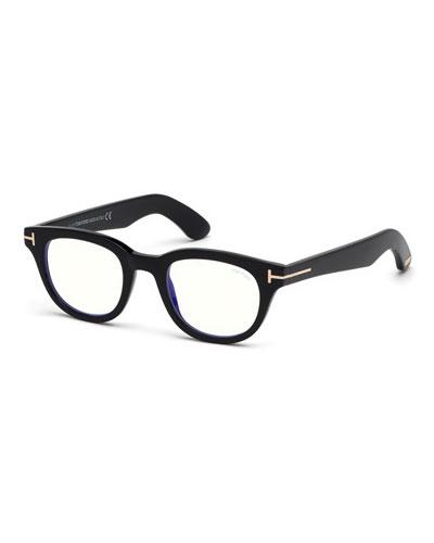 TOM FORD Men's Rectangular Plastic Blue-Block Glasses