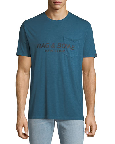 Men's Garment-Dyed Pocket T-Shirt with Logo