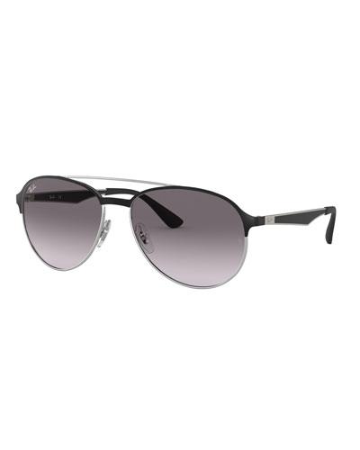 1d35a1df9e Men s Round Gradient Metal Aviator Sunglasses