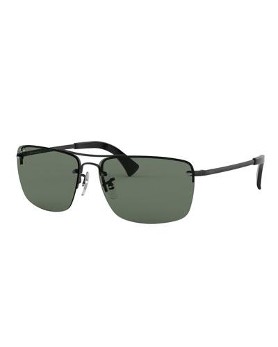 610ae31b43f Men s Half-Rim Metal Sunglasses with Solid Lenses