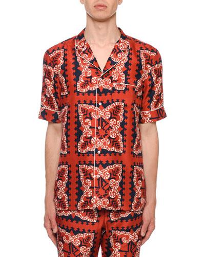 Men's Logo Bandana-Pattern Silk Short-Sleeve Sport Shirt