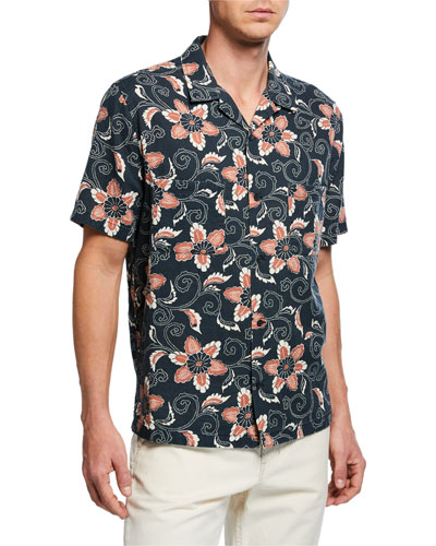 Men's Short-Sleeve Double Face Floral Shirt