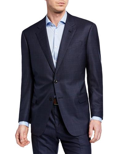 Men's Plaid Super 180s Wool Two-Piece Suit