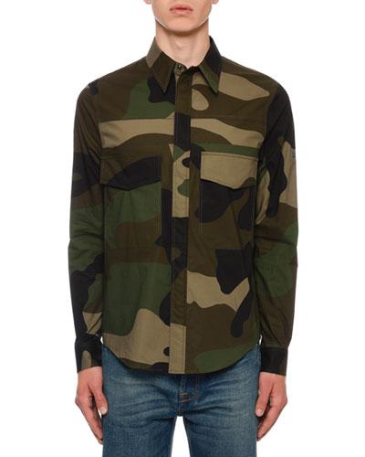 Men's Army Camo Pocket Sport Shirt