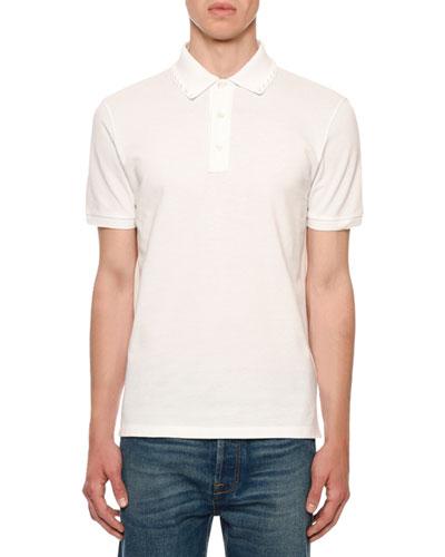 Men's Rockstud-Trim Polo Shirt