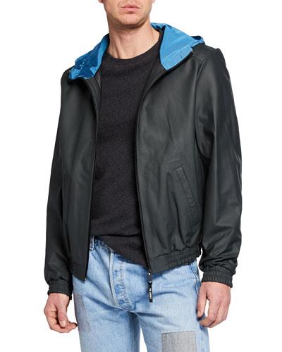 Men's Hooded Lamb Leather Zip-Front Jacket