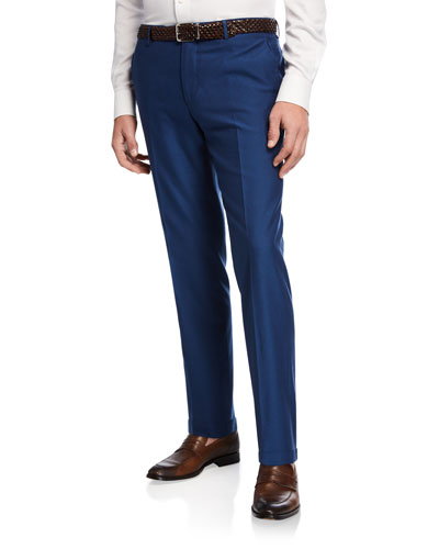 Men's Wool-Cotton Straight-Leg Pants