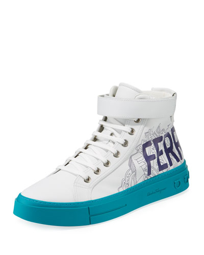 Men's Ayr Logo Leather High-Top Sneakers