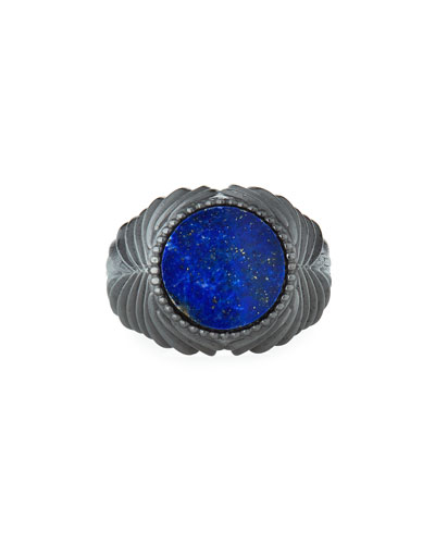 Men's Feathered Lapis Lazuli Ring