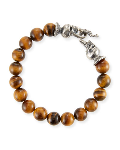 Men's Tiger Eye Sterling Silver Bracelet