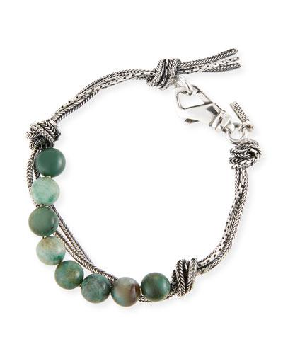 Emanuele Bicocchi Men's Green Quartz Bead Bracelet w/