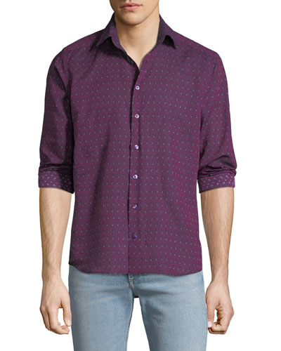 Men's Contrast Floral Sport Shirt
