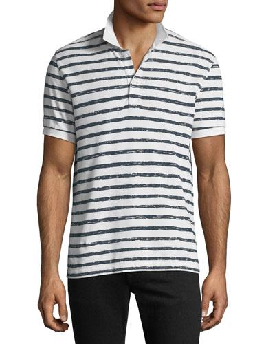 Men's Striped Pique Polo Shirt