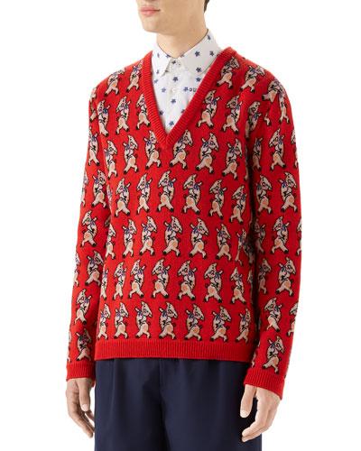 543b6a176e Men s Pig-Intarsia V-Neck Sweater