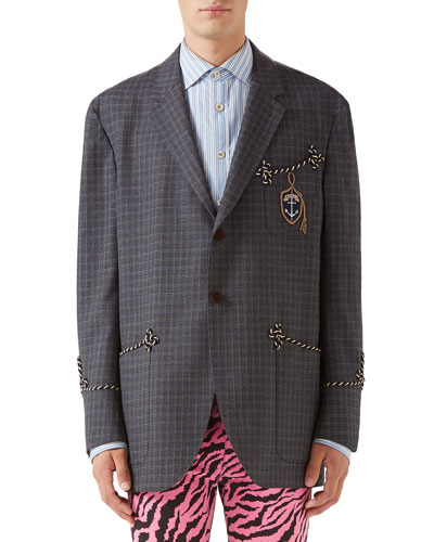 Men's Rope-Trip Check Two-Button Jacket