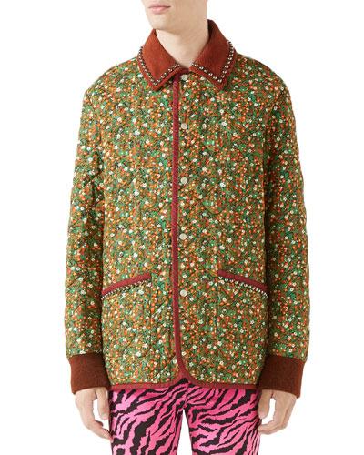 Men's Floral-Print Quilted Jacket