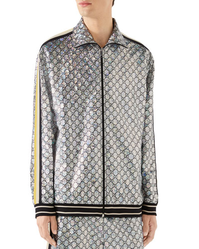 Men's Interlocking GG Metallic Track Jacket