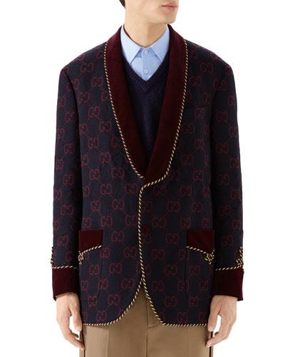 Men's GG Shawl-Collar Rope-Trim Jacket