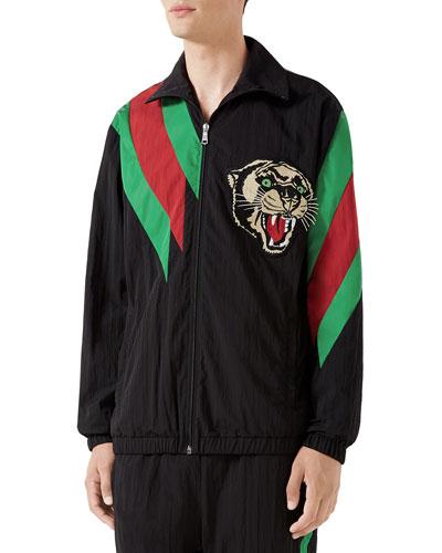 Men's Leopard Zip-Front Track Jacket