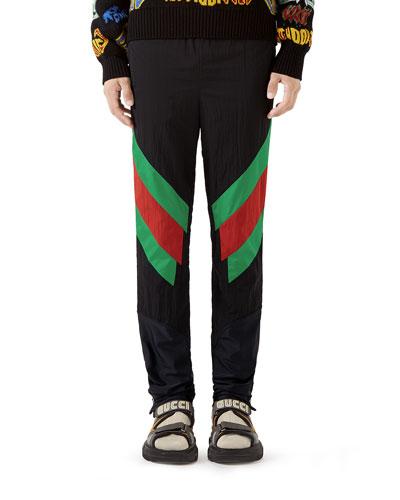 Men's Web-Stripe Nylon Track Pants