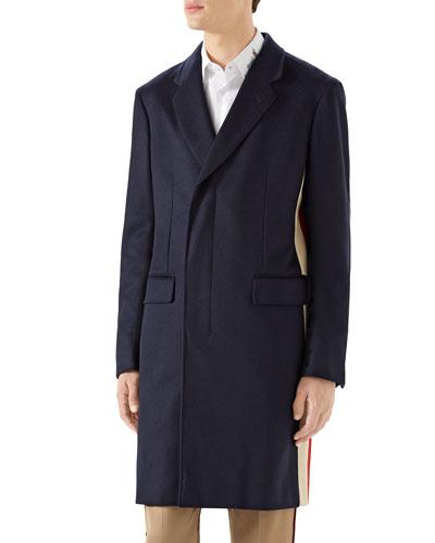 Men's Cashmere Side-Stripe Top Coat
