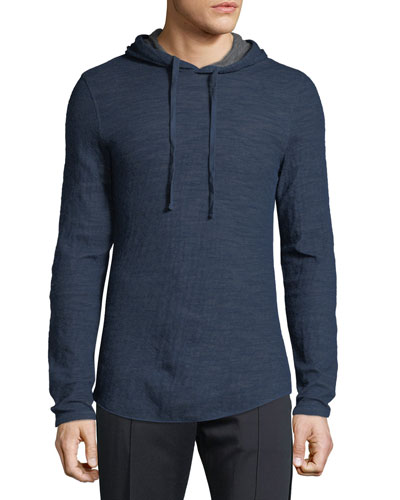 Men's Contrast Double-Knit Pullover Hoodie
