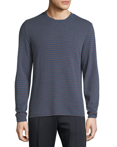 Men's Double Knit Striped Crew Shirt