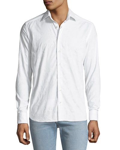 Men's Tonal Paisley Woven Sport Shirt, White