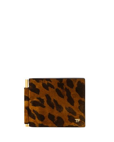 Men's Leather Bi-Fold Leopard-Print Wallet w/ Money Clip