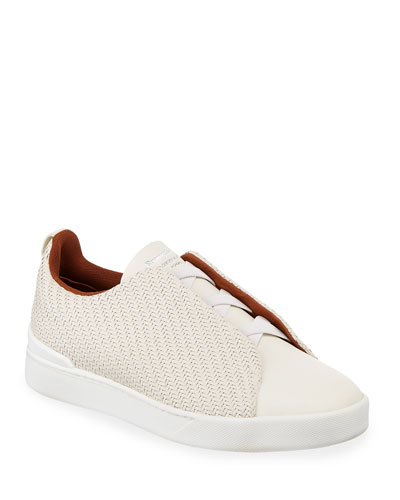 Men's Triple-Stitch Pelle Tessuta Low-Top Sneakers