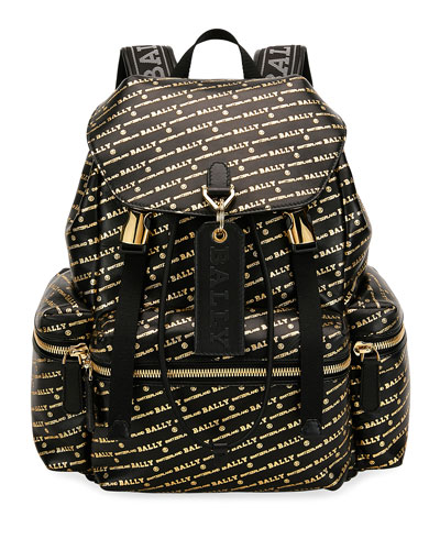 Men's Logo-Print Leather Backpack