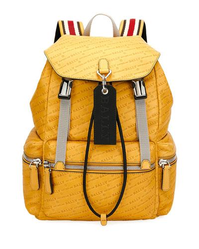 ffbdab37e773 Men s Logo-Print Faux-Leather Backpack