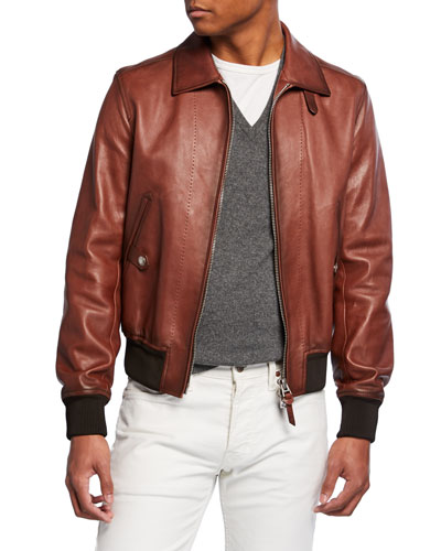 Men's Leather Zip-Front Bomber Jacket