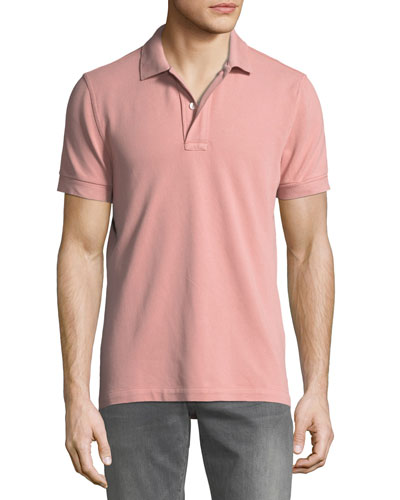Men's Pique Knit Polo Shirt, Pink
