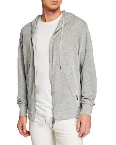 Men's Heathered Velour Zip-Front Hoodie