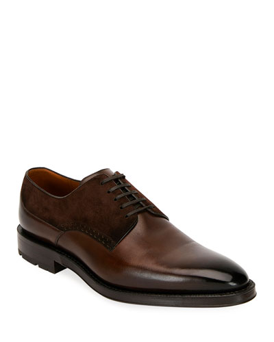 Men's Badux Injected Leather Lace-Up Derby Shoes