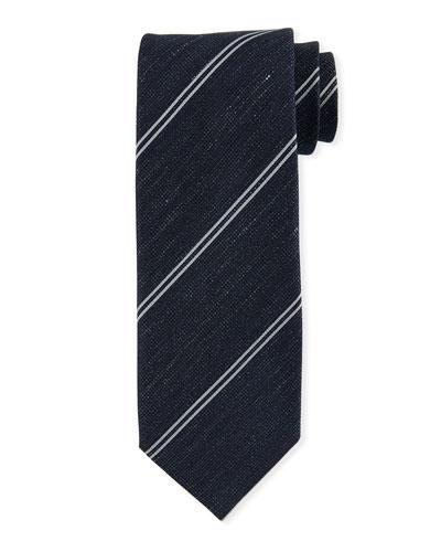 87176915b241 Striped Silk-Linen Tie, Blue Quick Look. TOM FORD