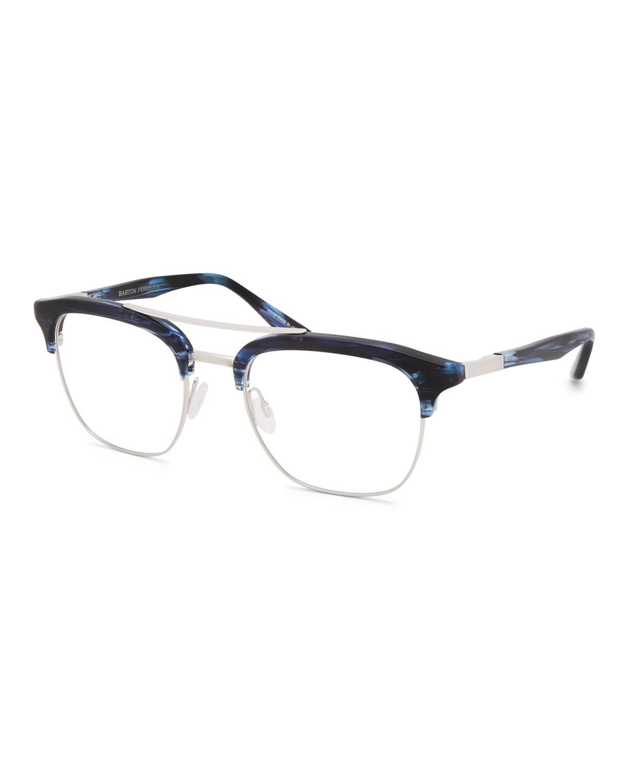 Men'S Lenox Half-Rim Titanium Optical Frames in Dark Blue